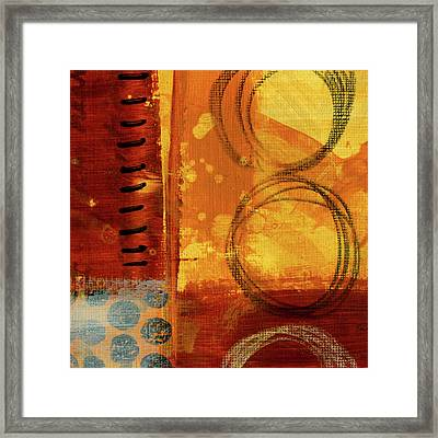 Framed Print featuring the painting Golden Marks 10 by Nancy Merkle