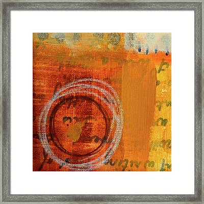 Framed Print featuring the painting Golden Marks 11 by Nancy Merkle