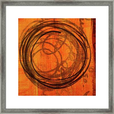 Framed Print featuring the painting Golden Marks 9 by Nancy Merkle