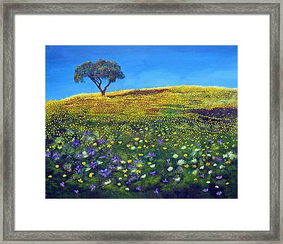 Framed Print featuring the painting Golden Meadow  by Marina Petro