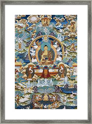 Golden Medicine Buddha Thangka Framed Print by Tim Gainey