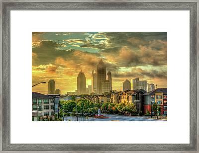 Golden Midtown Towering Over Atlantic Station Art Framed Print