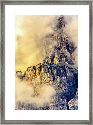 Golden Mist On Cathedral Mountain Framed Print