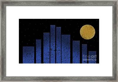 Golden Moon Over An Abstract City Framed Print