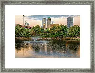 Golden Morning - Downtown Tulsa Oklahoma Skyline Water Reflection Framed Print