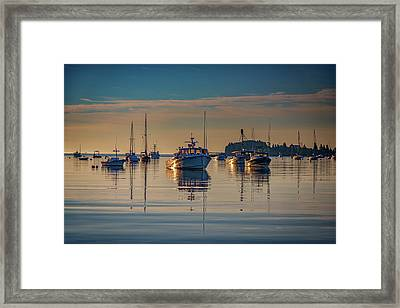 Framed Print featuring the photograph Golden Morning In Tenants Harbor by Rick Berk