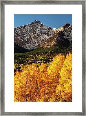 Golden Mountain Scene Framed Print