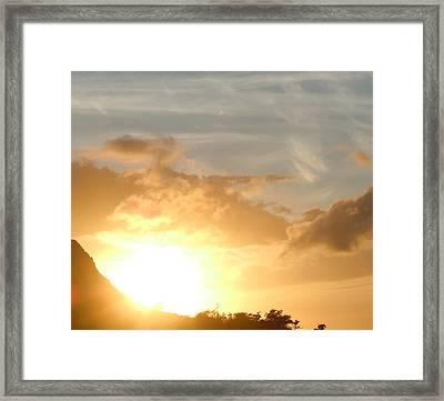Golden Oahu Sunset Framed Print