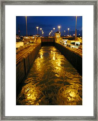 Golden Panama Canal Framed Print