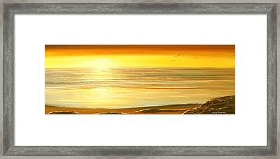 Golden Panoramic Sunset Framed Print by Gina De Gorna
