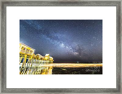 Golden Pier Under The Milky Way Version 1.0 Framed Print