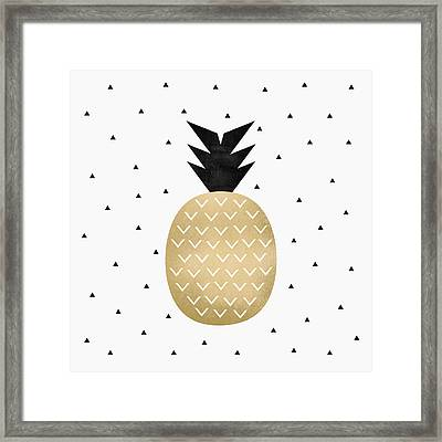 Golden Pineapple Framed Print by Elisabeth Fredriksson
