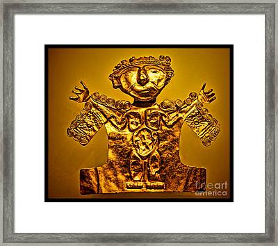 Golden Priest Statue Framed Print