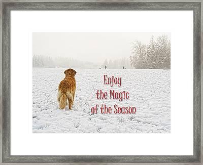 Golden Retriever Dog Magic Of The Season Framed Print by Jennie Marie Schell