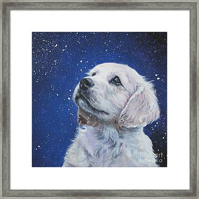 Golden Retriever Pup In Snow Framed Print