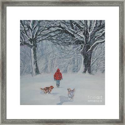 Golden Retriever Winter Walk Framed Print by Lee Ann Shepard