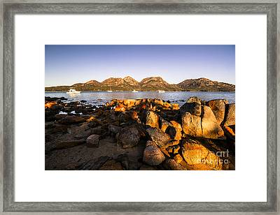 Golden Rocky Beachfront Framed Print by Jorgo Photography - Wall Art Gallery
