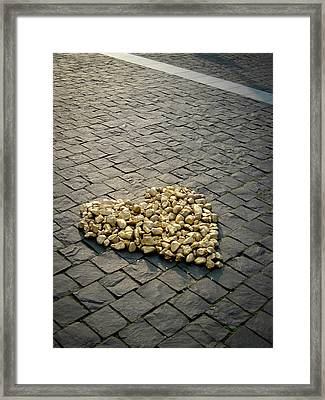 Golden Rocky Love Framed Print by Mary Lee Dereske
