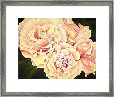 Golden Roses Framed Print by Rowena Finn