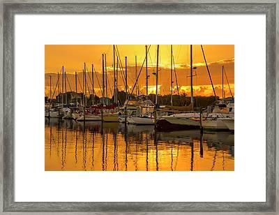 Golden Sailboat Sunrise Over Stuart Marina, Florida Framed Print