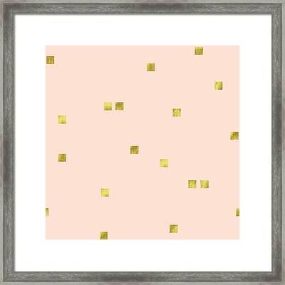 Golden Scattered Confetti Pattern, Baby Pink Background Framed Print by Tina Lavoie