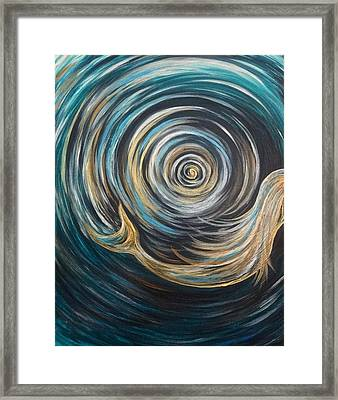 Golden Sirena Mermaid Spiral Framed Print
