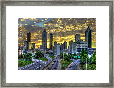 Framed Print featuring the photograph Golden Skies Atlanta Downtown Sunset Cityscape Art by Reid Callaway