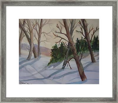 Golden Sky In The Snow Framed Print