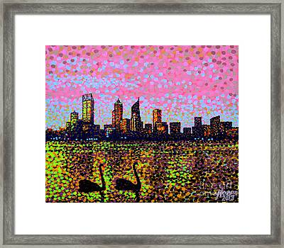 Golden Skyline Perth Framed Print by Alan Hogan