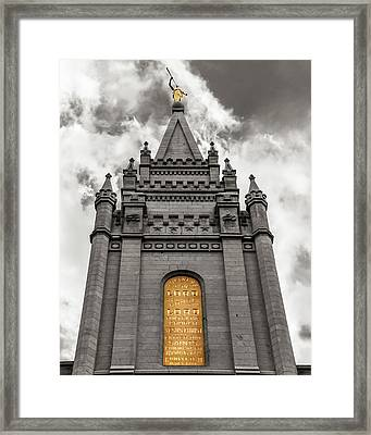 Golden Slc Temple Framed Print by La Rae  Roberts