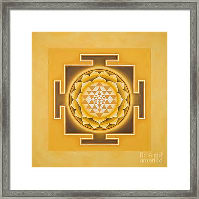 Golden Sri Yantra - The Original Framed Print by Piitaa - Sacred Art