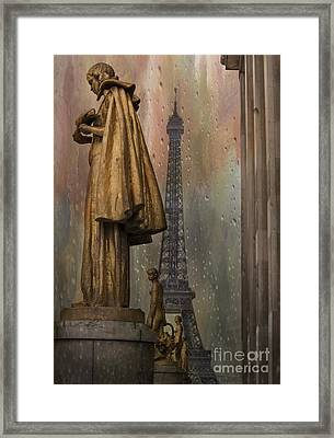 Golden Statues On Trocadero With View Towards Eiffel Tower Paris Framed Print