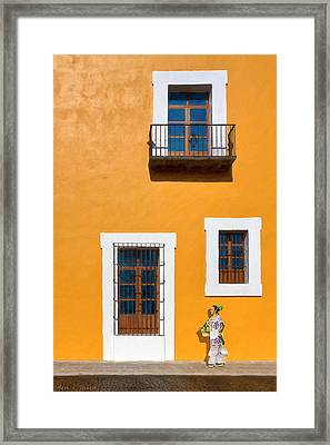 Golden Streets Of Puebla Mexico Framed Print by Mark E Tisdale