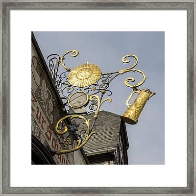 Golden Sun Sign Rudesheim Framed Print by Teresa Mucha