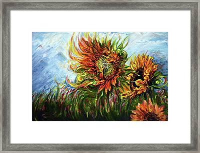 Golden Sunflowers - Harsh Malik Framed Print