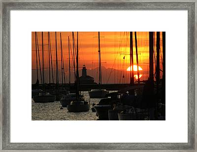 Golden Sunrise On Monroe Harbor Framed Print by Gregory Jeffries