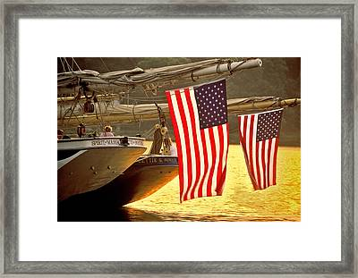 Golden Sunset And American Flags Framed Print by Stephen Sisk