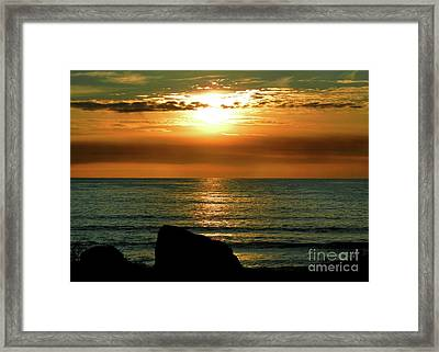 Framed Print featuring the photograph Golden Sunset At The Beach IIi by Mariola Bitner