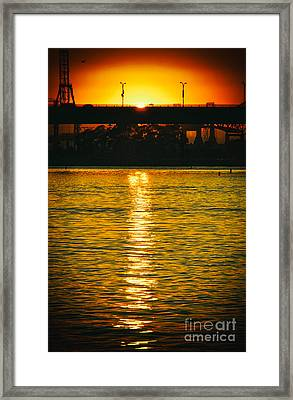 Framed Print featuring the photograph Golden Sunset Behind Bridge by Mariola Bitner