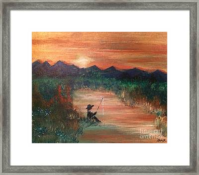 Framed Print featuring the painting Golden Sunset by Denise Tomasura