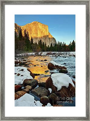 Golden Sunset - El Capitan In Yosemite National Park. Framed Print
