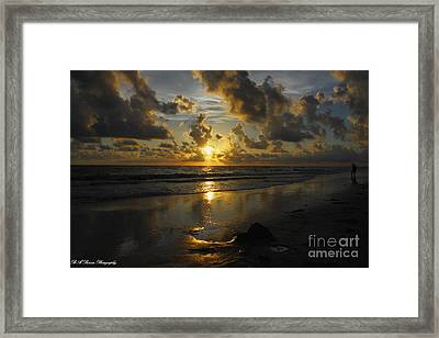 Golden Sunset From Indian Shores Framed Print by Barbara Bowen