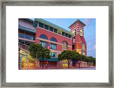 Golden Sunset Glow On The Facade Of Minute Maid Park - Downtown Houston Harris County Texas Framed Print