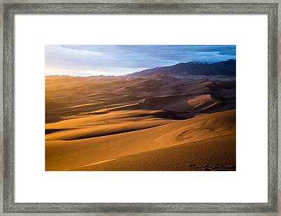 Golden Sunset In The Dunes Framed Print by Adam Pender