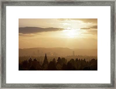 Golden Sunset Over Portland Skyline Framed Print by David Gn