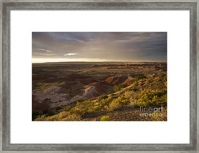 Golden Sunset Over The Painted Desert Framed Print by Melany Sarafis