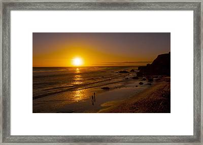 Framed Print featuring the photograph Golden Sunset Walk On Malibu Beach by Jerry Cowart