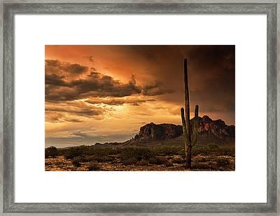 Golden Superstition Sunset  Framed Print