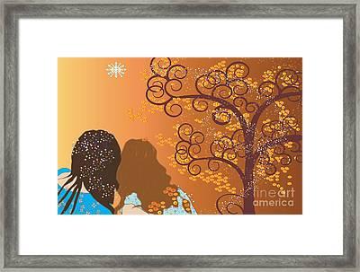 Framed Print featuring the digital art Golden Swirl Girls by Kim Prowse