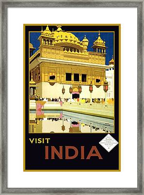 Golden Temple Amritsar India - Vintage Travel Advertising Poster Framed Print